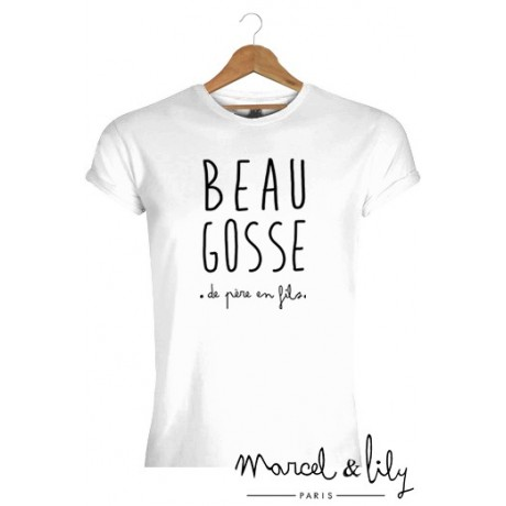 tee shirt homme blanc beau gosse de p re en fils marcel et lily. Black Bedroom Furniture Sets. Home Design Ideas