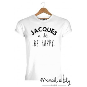 "Tee-shirt blanc bio homme + pochon tissu "" Jacques a dit, Be Happy"""