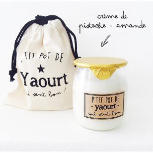 Bougie P'tit pot de yaourt crème de Pistache / Amande