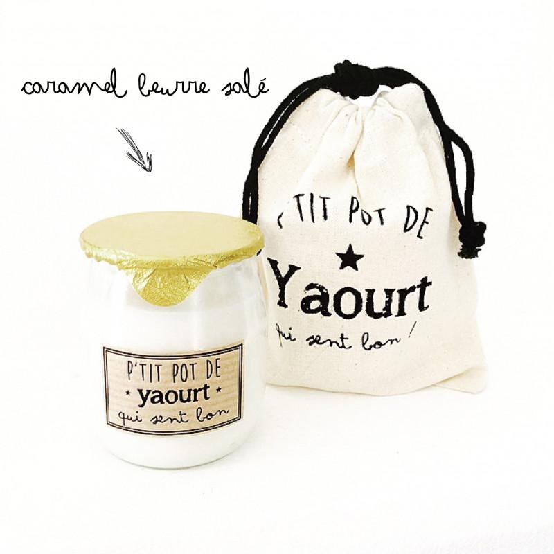 Bougie P'tit pot de yaourt Caramel Beurre Salé