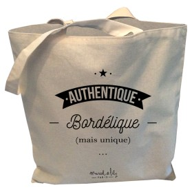 "Tote-Bag réversible écru "" Authentique Bordélique mais Unique"""