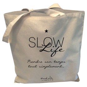 "Tote-Bag réversible écru ""Slow Life"""