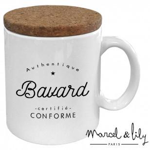 """Mug avec son couvercle en liège """"Authentique Bavard"""""""