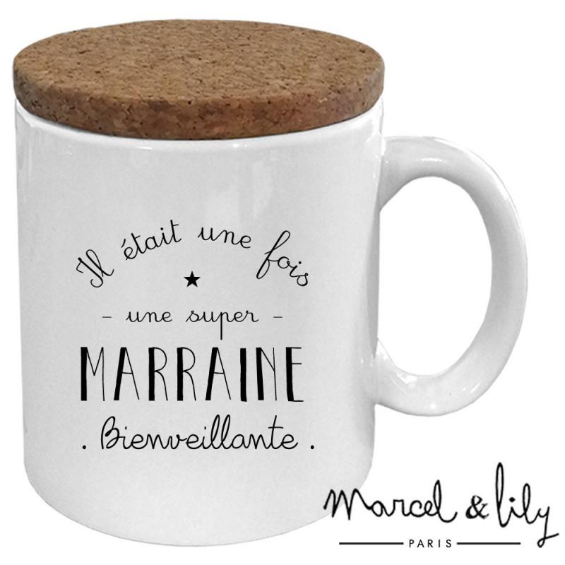 """Mug avec son couvercle en liège """"Il était une fois une super Marraine"""""""