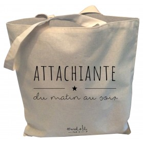 "Tote-Bag réversible écru ""Attachiante du matin au soir"""