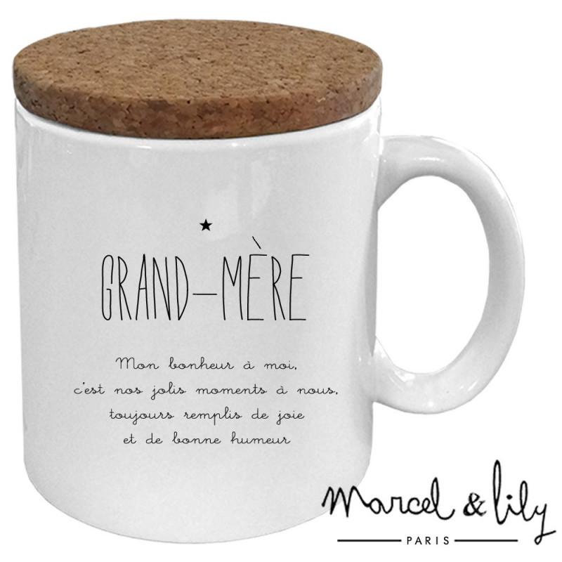 """Mug avec son couvercle en liège """"Grand-Mère"""""""