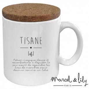 "Mug avec son couvercle en liège ""Définition Tisane"""
