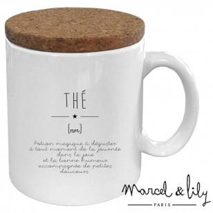 """Mug avec son couvercle en liège """"Définition Thé"""""""