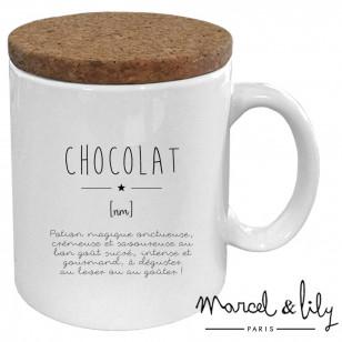 """Mug avec son couvercle en liège """"Définition Chocolat"""""""