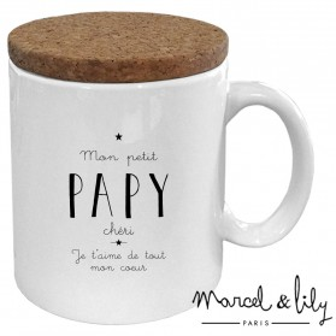 """Mug avec son couvercle en liège """"Mon petit papy chéri"""""""