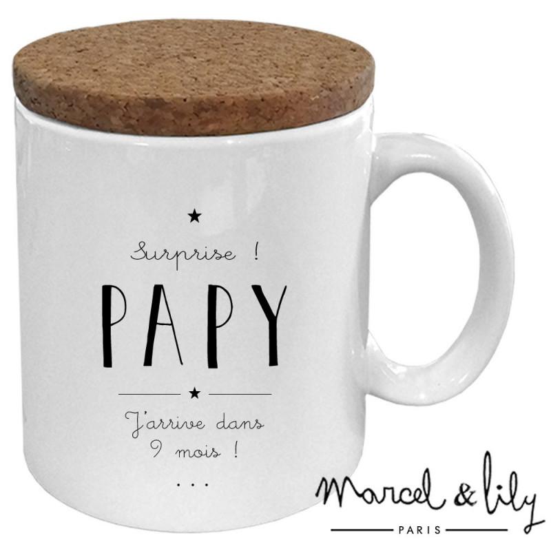 "Mug avec son couvercle en liège ""Futur Papy"""