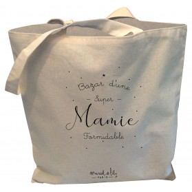 "Tote-Bag réversible écru ""Mamie Formidable"""