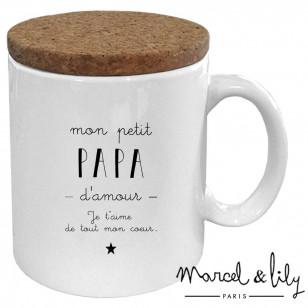 """Mug avec son couvercle en liège """" Mon petit papa d'amour"""""""