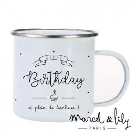 "Tasse émaillée ""Happy Birthday"""
