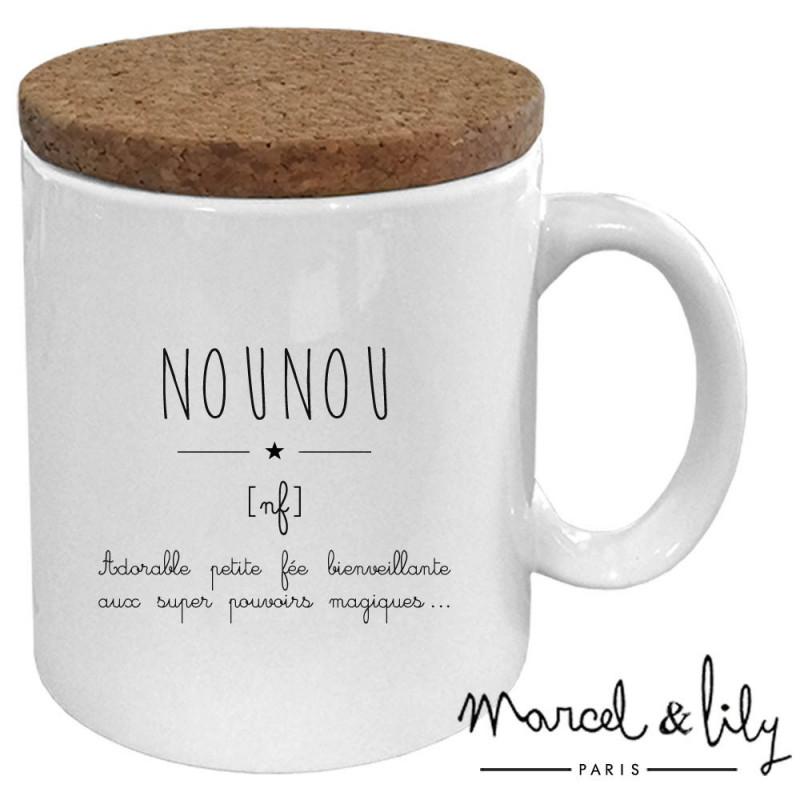 """Mug avec son couvercle en liège """"Nounou"""""""
