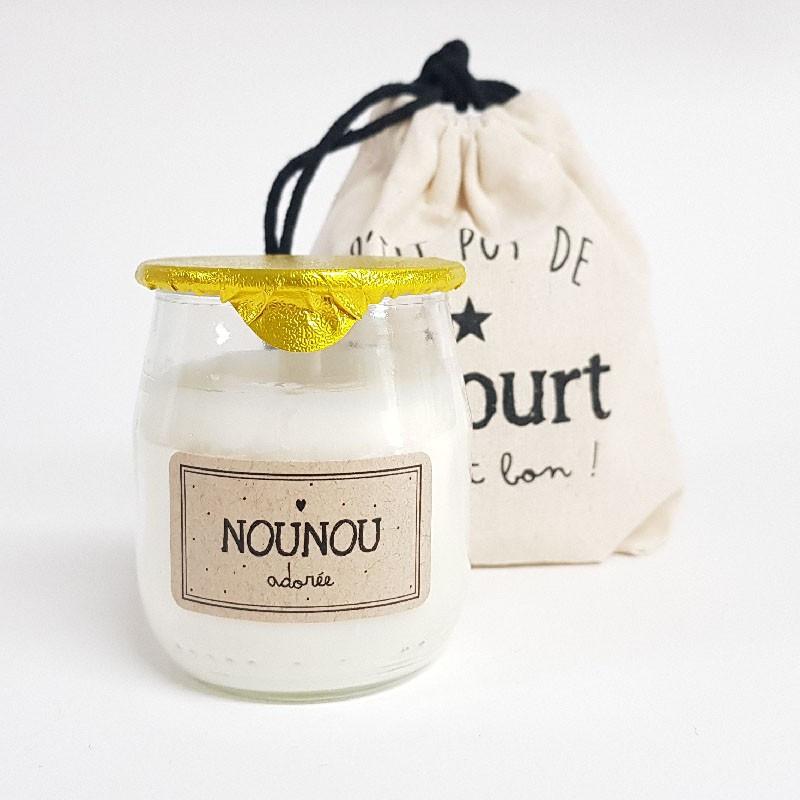 """Bougie P'tit pot de yaourt """"Nounou"""" Pistache-amande"""