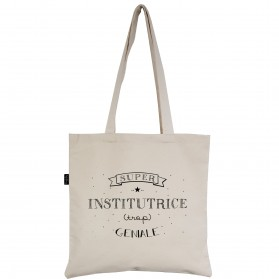 "Tote-Bag écru ""Institutrice"""