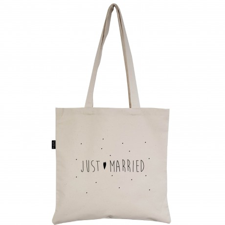 "Tote-Bag écru ""Just Married"""