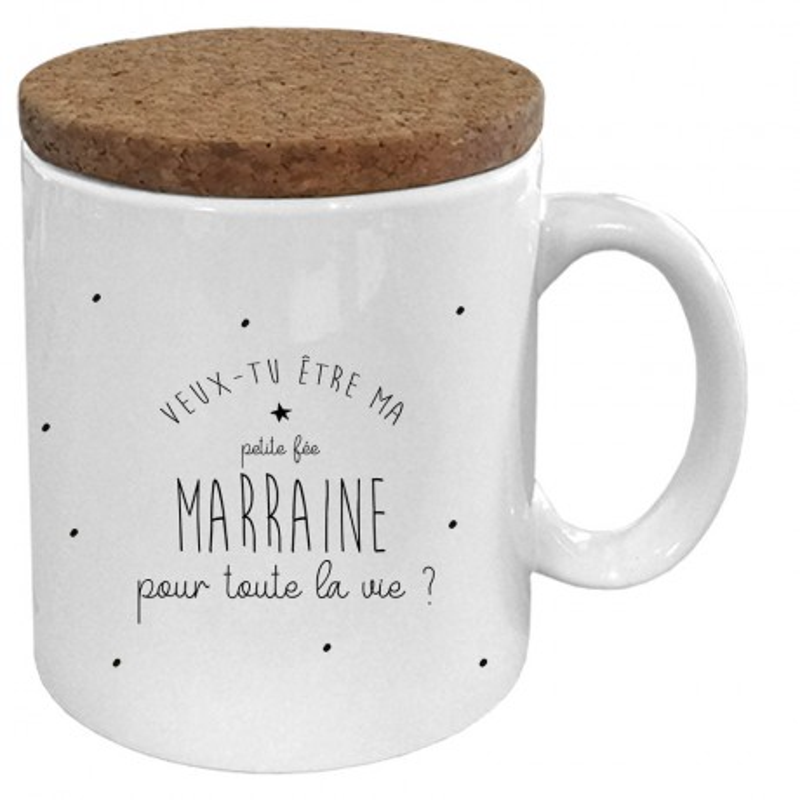 """Mug avec son couvercle en liège """" Veux-tu être ma marraine"""""""