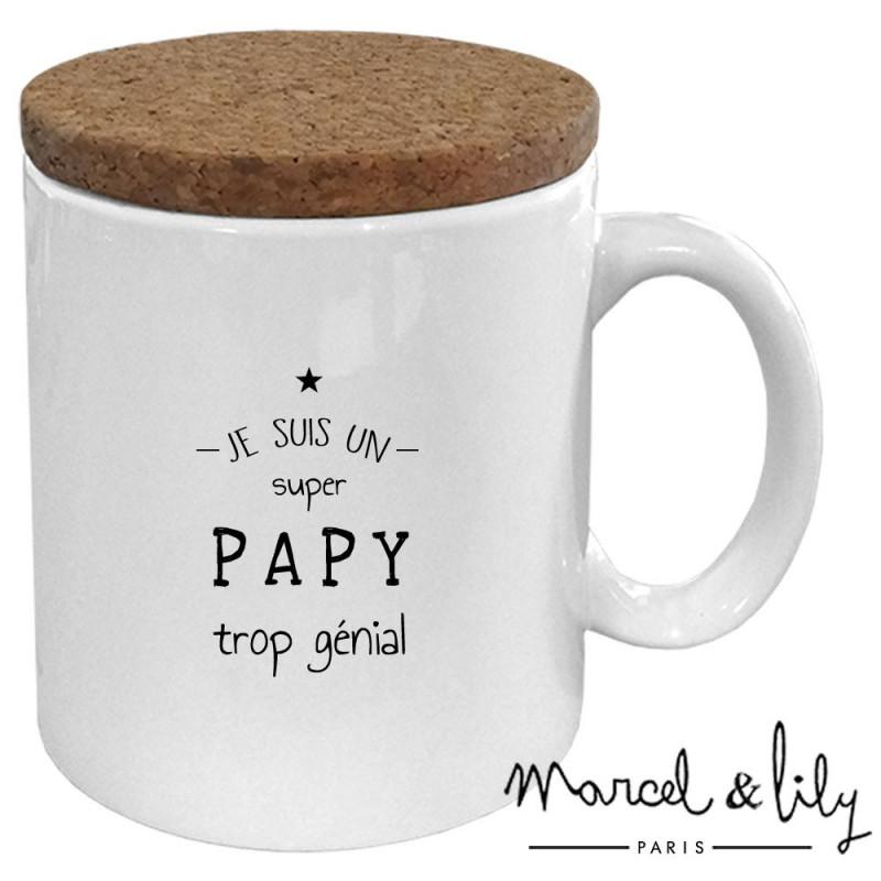 """Mug avec son couvercle en liège """"Je suis un papy trop génial"""""""
