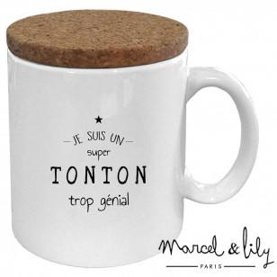 """Mug avec son couvercle en liège """"Je suis un Tonton trop génial"""""""