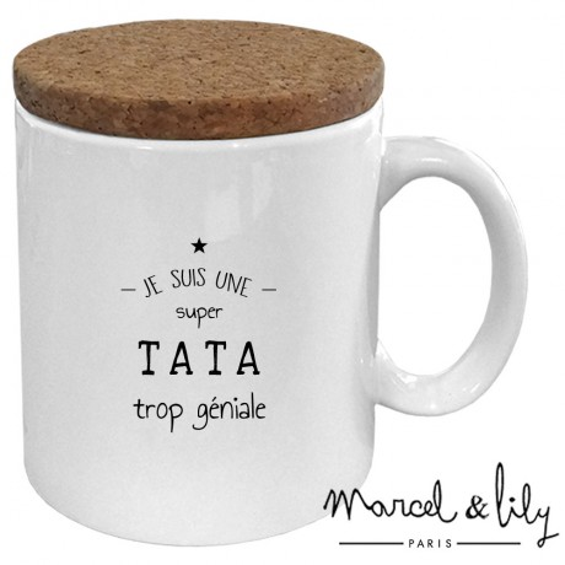 """Mug avec son couvercle en liège """"Je suis une Tata trop géniale"""""""