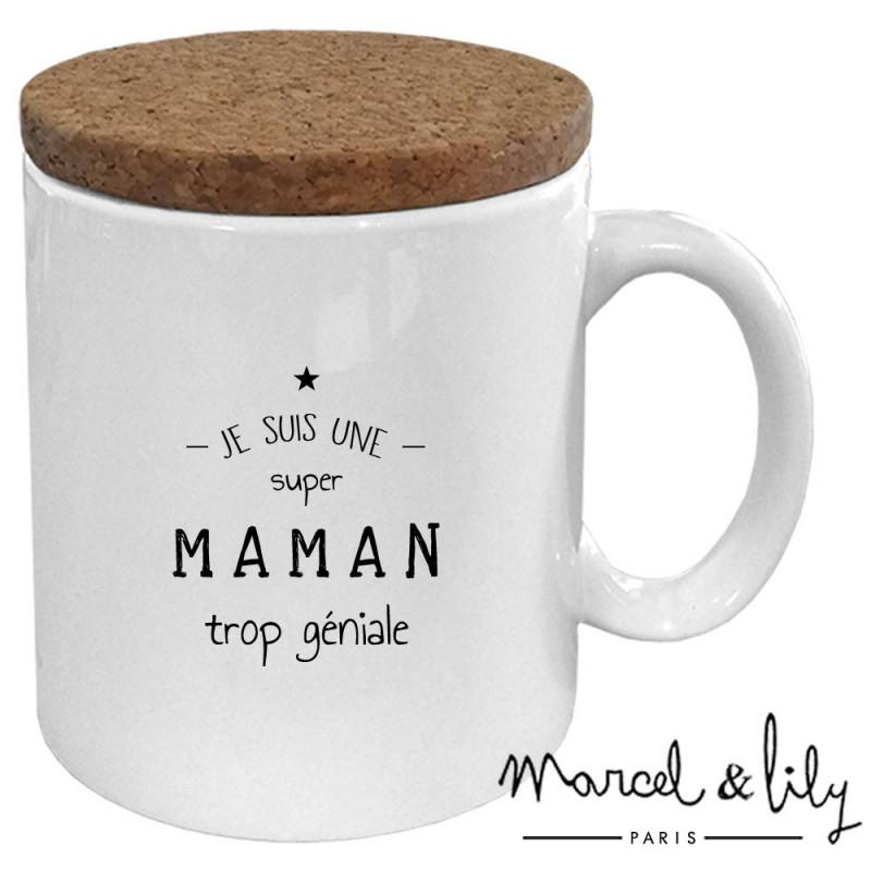 """Mug avec son couvercle en liège """"Je suis une maman trop géniale"""""""