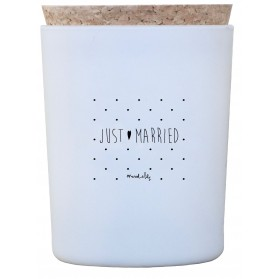 "Bougie ""Just Married"" - Bouquet de lys blancs"