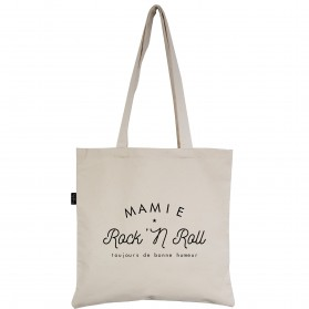 "Tote-Bag écru ""Mamie Rock'N Roll"""