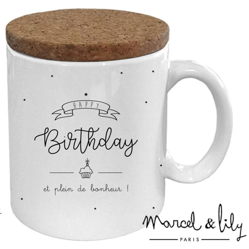 """Mug avec son couvercle en liège """"HAPPY VERSAIRE"""""""