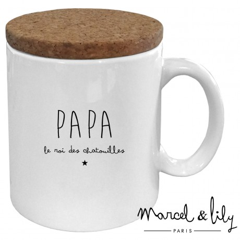 """Mug avec son couvercle en liège """"Papa, le roi des chatouuilles"""""""