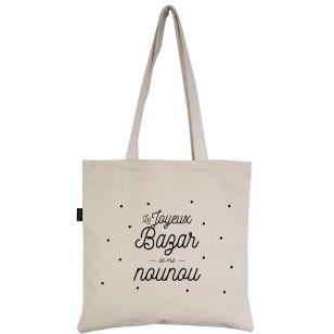 "Tote-Bag écru ""Je Joyeux Bazar de ma nounou"""