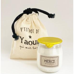 """Bougie P'tit pot de yaourt """"MERCI"""" Fleur d'oranger"""