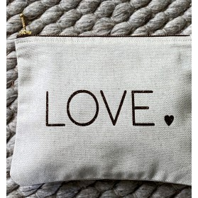 "Trousse en lin-coton "" love """