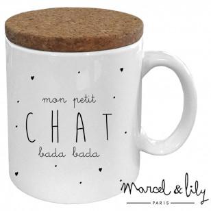 "Mug avec son couvercle en liège ""Petit chat bada bada"""