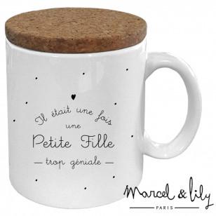 """Mug avec son couvercle en liège """"Il était une fois une petite fille"""""""