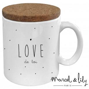 """Mug avec son couvercle en liège """"Love de toi"""""""