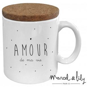 """Mug avec son couvercle en liège """"Amour de ma vie"""""""