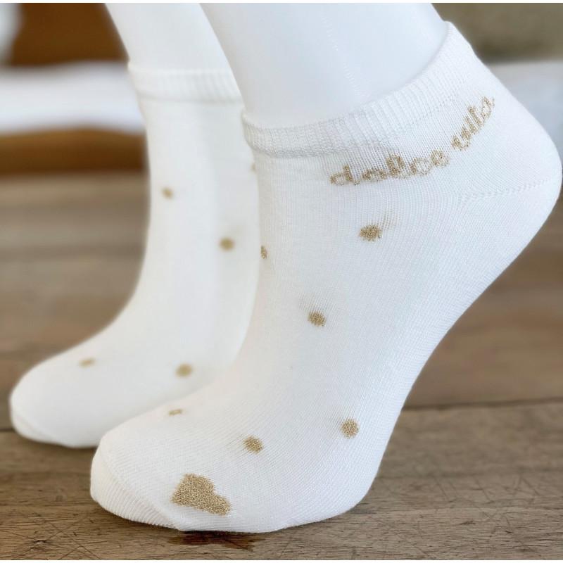 """Socquettes """" Dolce Vita """" Milk et or"""