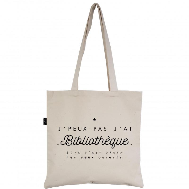 """Tote-Bag réversible écru """"J'peux pas, j'ai bibliothèque """""""