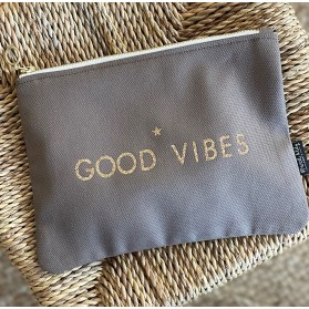 """Trousse warm taupe """"GOOD VIBES"""""""