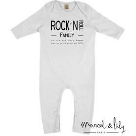 "Grenouillère + mini tote bag ""Rock'Roll family """