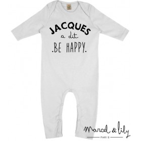 "Grenouillère + mini tote bag ""Jacques a dit be happy """